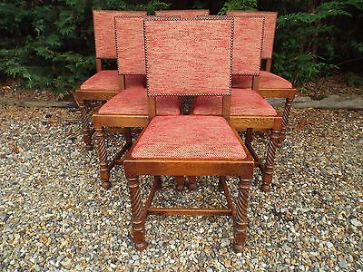 Antique Set of Six Solid Oak Dining Chairs ref334