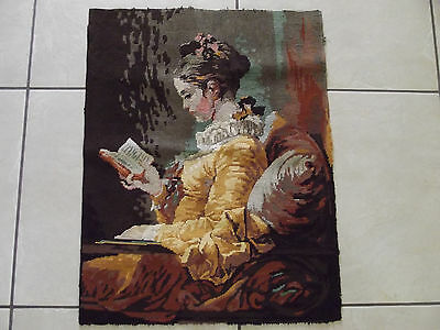 Large Vintage French Completed Tapestry Pretty Girl Lady Woman  Female With Book