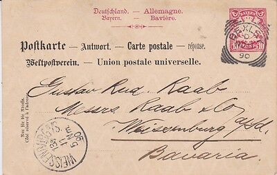 Great Britain-1890 10 Pf red Bavaria reply card cover pmked Bexley square circle