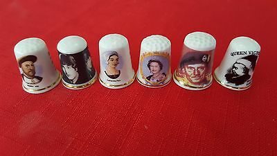 Set of 6 thimbles featuring various famous people