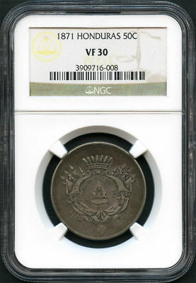 1871 Honduras Silver 50 Cents NGC VF-30 Low Mintage -133976