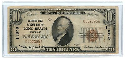 1929 $10 Banknote Type 1 California First National Bank of Long Beach Ch #11873