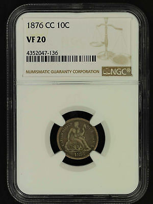 1876-CC Seated Liberty Silver Dime NGC VF-20 -157087