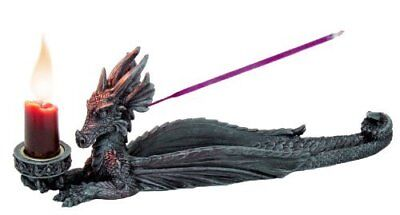 10 Inch Dragon Hand Painted Resin Incense and Candle Holder, Gray