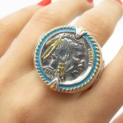 Vtg 1936 Solid Silver Large Native American Head Real Coin Signet Ring Size 13.5