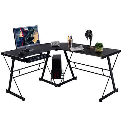 L Shape Computer Desk PC Wood Laptop Table Workstation Corner Home Office Black