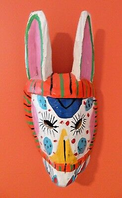 """Vtg 14"""" Mexican Wood Carved Mask Painted Rabbit White Mexico Primitive Art"""
