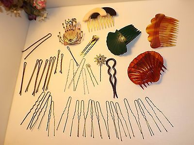 Vintage Lot Of (39) Hair Comb Bobbi Pin Metal/Lucite/Rhinestone Hair Accessories