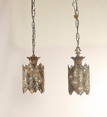 Pair of Antique Filigree Lanterns Pendant Lights w/ Aurora Borealis Jewels