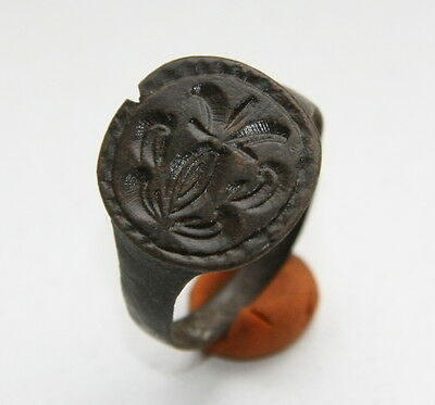 Ancient Bronze Finger Pseudo-Heraldry Seal Ring (SPT02)