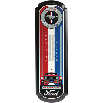 NEW Ford Mustang 27 Inch Embossed Tin Thermometer - Predrilled & Ready To Hang