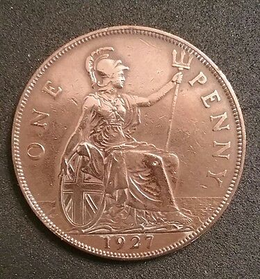 ENGLAND GREAT BRITAIN  UK 1927 ONE Penny COIN George V FREE SHIPPING!