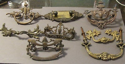 Lot 8 Antique Vintage Drawer Pull Brass Metal Architectural Hardware