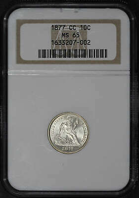 1877-CC Seated Liberty Dime NGC MS-65 F-108 Type 2 Rev 1877/6 Overdate -111366