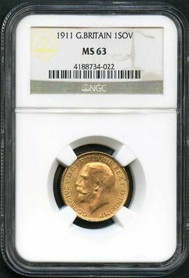 1911 Great Britain Gold Sovereign NGC MS-63 -134094