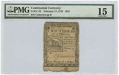 February 17, 1776 $2/3 Continental Currency PMG Choice F-15 Fr #CC-22