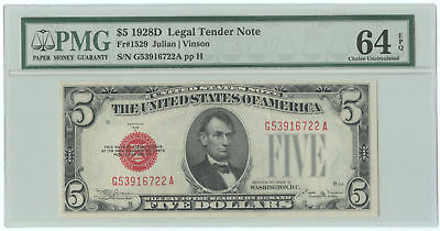 1928D $5 United States Legal Tender Note PMG Choice UNC 64 EPQ