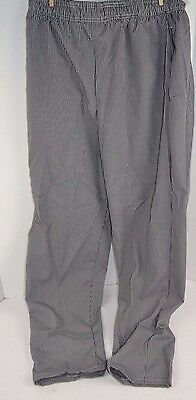 CHEF DESIGNS Check Pattern Black/White BAGGY Chef Uniform Pants LARGE Polyester