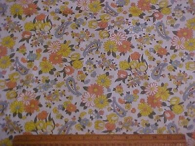 Vintage Feedsack w/ Peach, Yellow & Blue Flowers and Paislies
