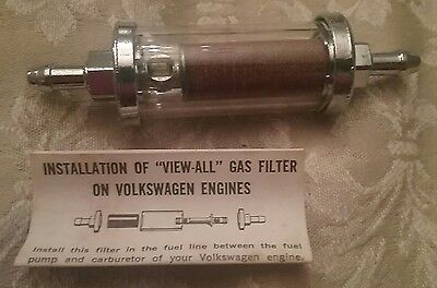 NOS Alondra Inc Glass VA-4 In-line Gas fuel Filter fits most chrome  VINTAGE NEW