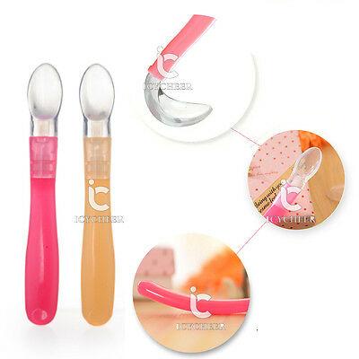 Lovely Soft Silicone Kids Baby Spoon Feeding Spoon Flatware Tableware Safety