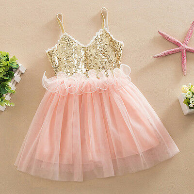 Flower Girls Sequins Tutu Dress Princess Kids Baby Wedding Party Tulle Dresses