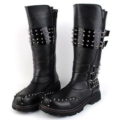 Men's New Military Knee High Boots Motorcycle Rivet Riding Buckle Cowboy Shoes#