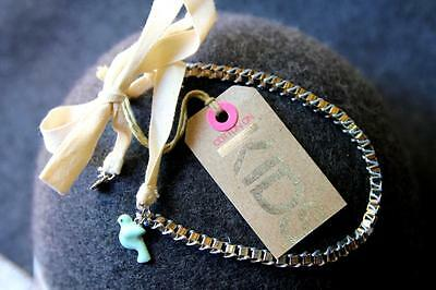 Cotton On Kids Toddler Girl Bird Pigeon Charm Chain Ribbon Necklace *Brand New*
