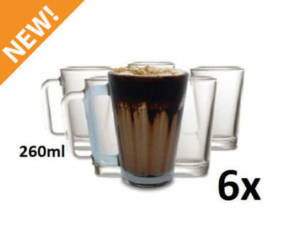 Set of 6 Glass Cup Mug 260ml Hot Cold Drink Coffee Tea Heat Resistant Milkshake