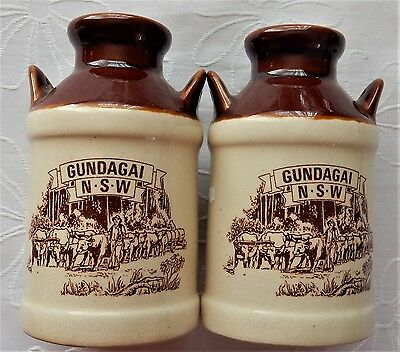 Gundagai NSW Large Salt & Pepper SHAKERS Where The Dog Sits On The Tucker Box...