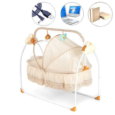 Baby Auto-Swing Bed Big Space Electric USB Crib Cradle Infant Rocker Cradle New