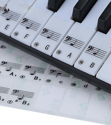 TRANSPARENT Keyboard / Piano Stickers up to 88 KEY Set to learn Piano CLEAR