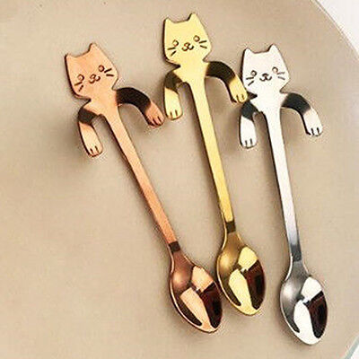Cute Cat Stainless Steel Ice Cream Cocktail Teaspoons Bar Coffee Soup Tea Spoons