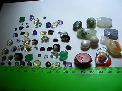 Lot of 63 Genuine Faceted Gemstones,natural mined stones. ring & pendant sizes.