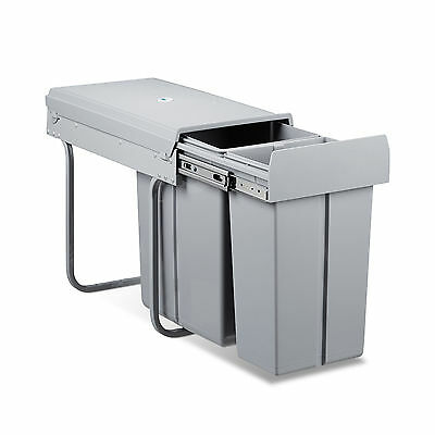 Waste Separation System Double Trash Bin Kitchen Recycling Divider 2 Compartment