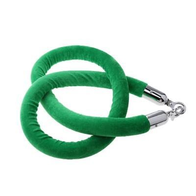 Green Queue Rope Barrier Velvet Rope Crowd Control with Silver Ends 1.5m