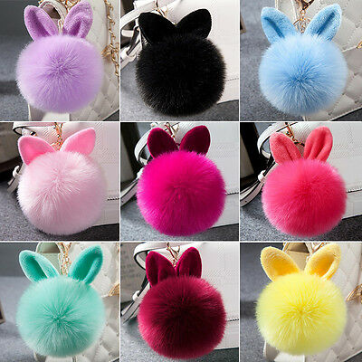 Cute Fluffy Bunny Pom Keychain Women Bag Rabbit Ear Fur Ball Pendant Keychain