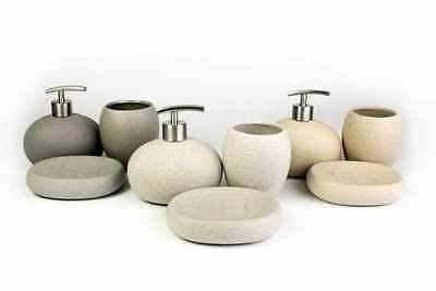 3Pc Bathroom Accessory Set Stone Effect Ceramic Soap Dish Dispenser & Tumbler