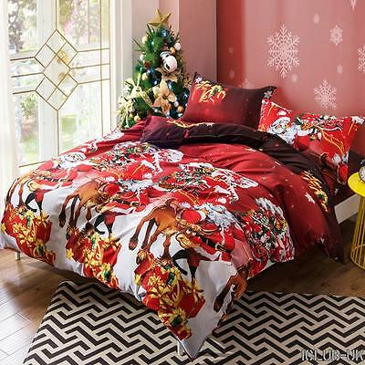 Quilt Duvet Covers Bedding Sets Pillow Case Christmas Santa Claus Red Cover Room