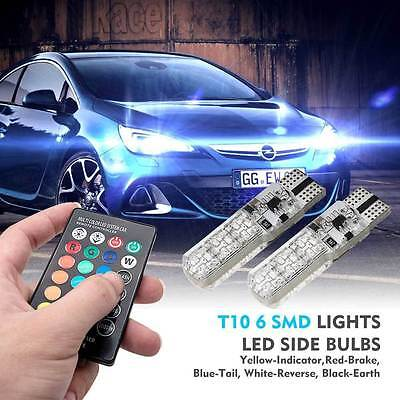 Remote Control T10 5050 Car Led Bulb 6 Smd Multicolor W5W 501 Side Light Bulbs #