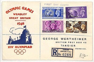 AO184 1948 MOROCCO AGENCIES Tangier FDC Olympic Games {samwells-covers}