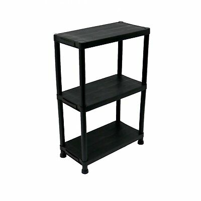 NEW! 3 Tier Black Plastic Heavy Duty Shelving Racking Storage Unit