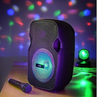 QTX PAL8 Portable Bluetooth PA Speaker System with LED FX & Wireless Microphone