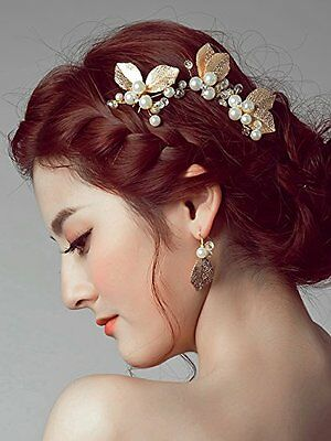 Missgrace Bridal Wedding Crystal Leaf Hair Pins Clips Women Hair Jewelry for