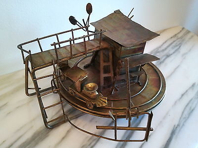 Vintage Metal Wind-up Musical Handmade Train & Train Station Set Diorama Awesome