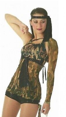 Dance Storm Costume Camouflage Camo #4 TUNIC TOP and #6 SHORTS Halloween 6X7