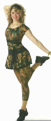 Dance Storm Costume Camouflage Camo LEOTARD and PANEL SKIRT Halloween CXS,6X7,AL