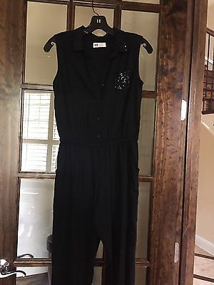 H+M Girls Jumpsuit Size 11/12 In Black Sequin Collar