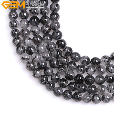 New Natural Round Black Rutilated Quartz Beads for Jewelry Making 15'' Wholesale