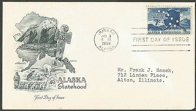 Us Fdc 1959 Alaska Statehood 7C Air Mail Stamp First Day Of Issue Cover Juneau